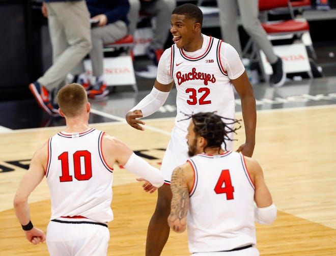Forward E.J. Liddell (32) is the first Ohio State player to be a first-team all-league pick since Keita Bates-Diop in 2018.