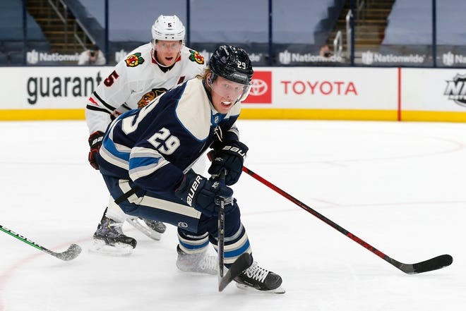 Patrik Laine had six goals and four assists in his first 15 games after joining the Blue Jackets.