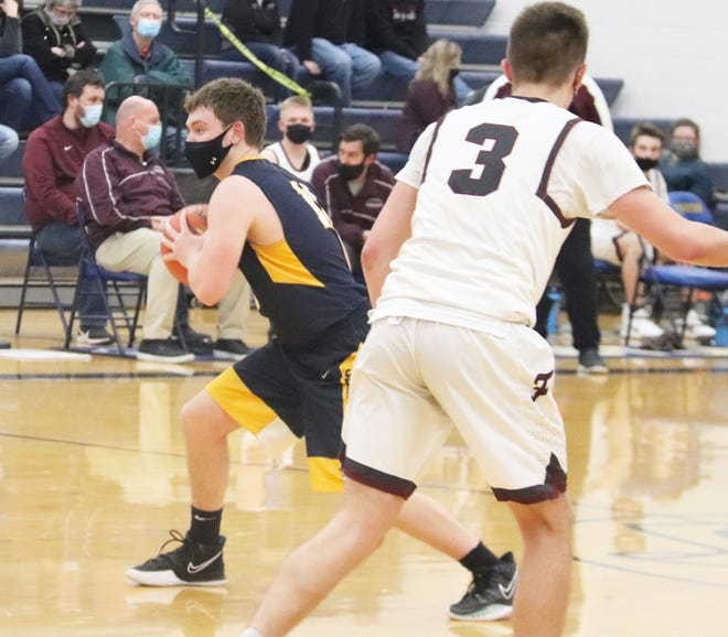 Jacob Hesby in a game against Fosston on Friday, March 5. Hesby had a career game in Crookston's 67-65 loss to Warren-Alvarado-Oslo Saturday.