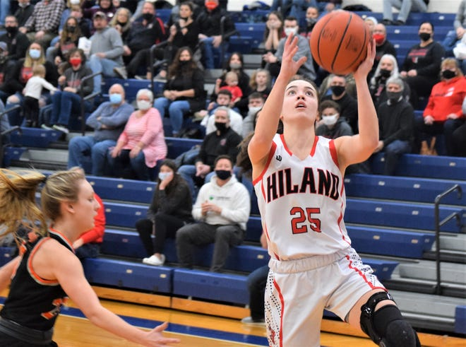 Brynn Mullet goes up for two of her 11 points to help the Hawks sink the Pirates and gain a trip to state.