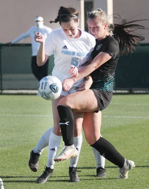 Ponte Vedra midfielder Ella Shapiro (left) charges upfield with the ball against Archbishop McCarthy in the March 5 state final. She is among more than a dozen Jacksonville-area players selected for the FACA All-Star Classic in Lakeland.
