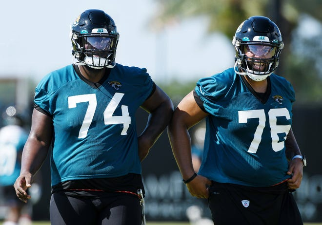 Cam Robinson (74) is an adequate left tackle, but the Jaguars should seek an upgrade either in free agency or the NFL draft.