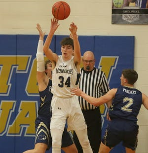 TMP's Dylan Werth scored 21 points in the Monarchs' 69-50 win in the sub-state semifinals vs. Phillipsburg on Friday in Norton.