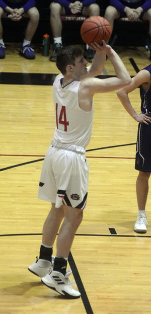 Hesston junior Cason Richardson hit five of eight free throws in a 52-40 win over Southeast of Saline.