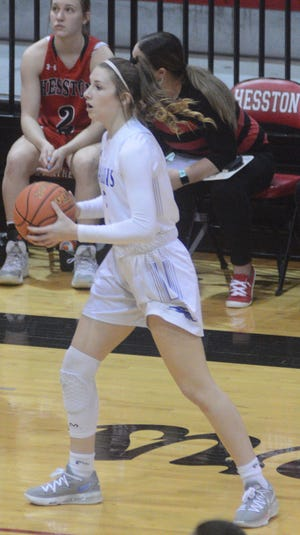 Halstead senior Kaleigh O'Brien scored 16 points, including a pair of layups off steals in the finals 73 seconds, to lead the Dragons to a 40-36 win over Hesston. Halstead wins back-to-back sub-state titles for the first time in school history.