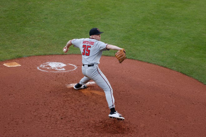 Texas Tech starting pitcher Patrick Monteverde attempts to throw the ball during a nonconference game Saturday against Sam Houston State as part of the Shriners Hospitals for Children College Classic at Minute Maid Park in Houston.