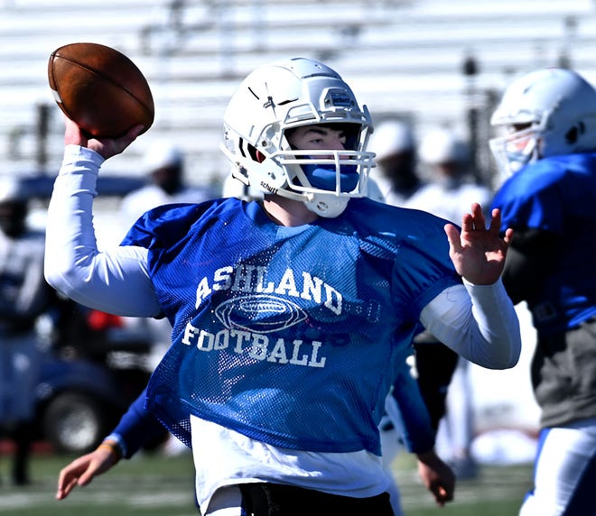 Ashland quarterback Luke Herter throws a pass during an informal scrimmage against Medway at Medway High School, March 6, 2021. Herter scored two touchdowns in the Clockers' win over Norwood on Saturday.