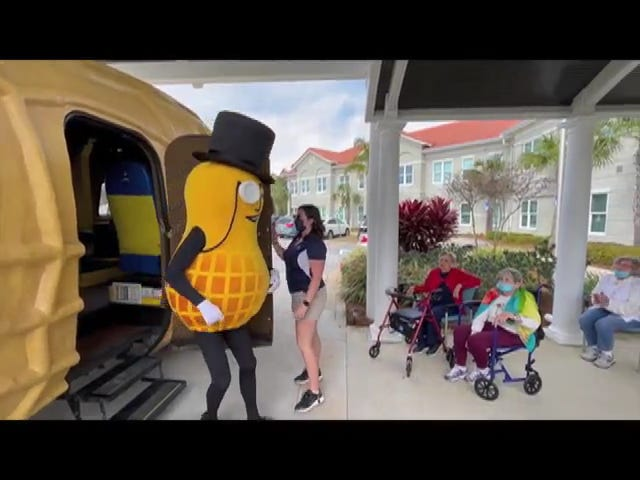 The Planters NUTmobile and mascot Mr. Peanut dropped by Friday to visit the residents of Somerby Senior Living in Santa Rosa Beach.