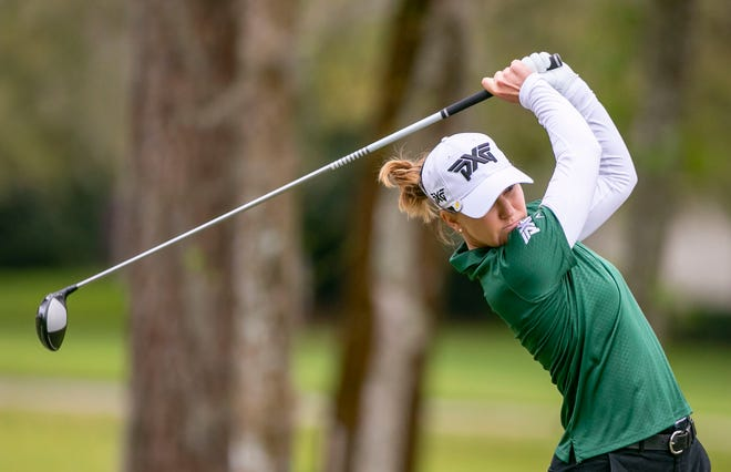 Austin Ernst tees off on hole No. 9 during the third round of the LPGA Drive On Championship at Golden Ocala on Saturday.