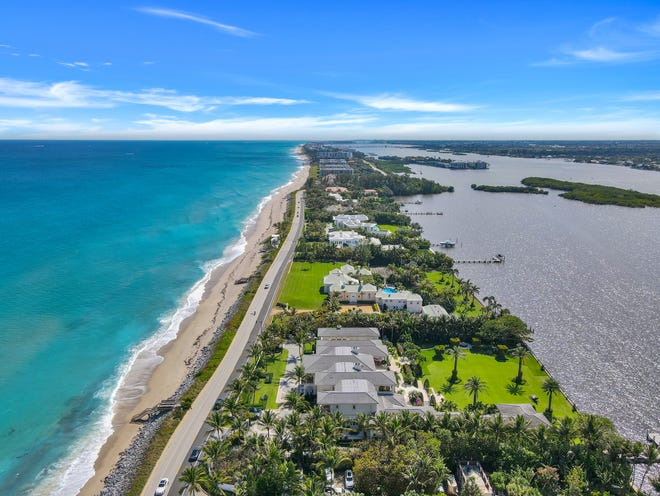 The most expensive mortgage recorded in Palm Beach County in June was one for $65.78million, linked to a Palm Beach estate seen in the foreground at 1840 S. Ocean Blvd., which sold for a price documented at $109.63 million.