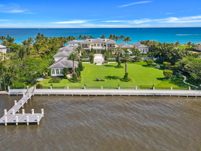 A ocean-to-lake estate built by Dr. Ernst A. Langner and his wife, Nataly, at 1840 S. Ocean Blvd. in Palm Beach has sold for a recorded $109.625 million, the price just recorded with the deed.