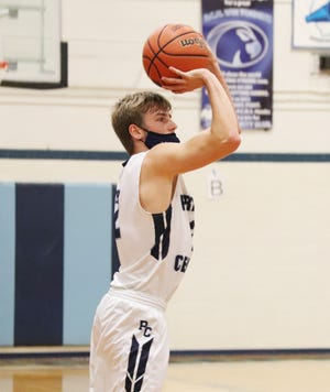 Trey Bazzell of Prairie Central, shown here last week, delivered the game-winning shot Friday night as the Hawks defeated Monticello.