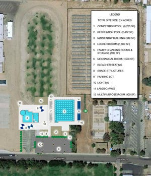 The latest and likely final proposed pool plan that the city plans to submit with a Statewide Park Program grant application. The plan may be tweaked to include additional shade structures but is otherwise set. It differs from the previous plan in that landscaping elements have been moved to avoid having branches and leaves blow into the pool on windy days.
