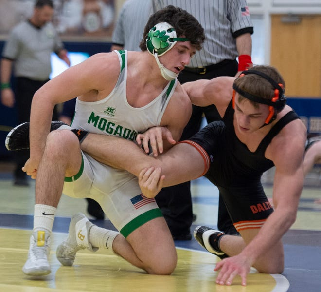 Mogadore's Nick Skye defeated Tate Geiser of Dalton in a 152-pound semifinal at the Division III district wrestling tournament last weekend.