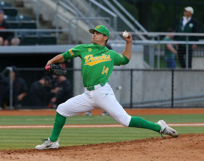 Nico Tellache earned the pitching win in relief in Oregon's 7-6 win at No. 15 UC Santa Barbara on Friday.