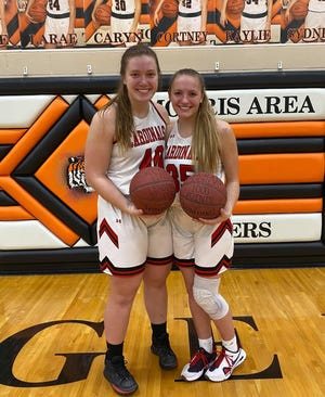 RVHS basketball players Haley Garman and Sydney Sommers.
