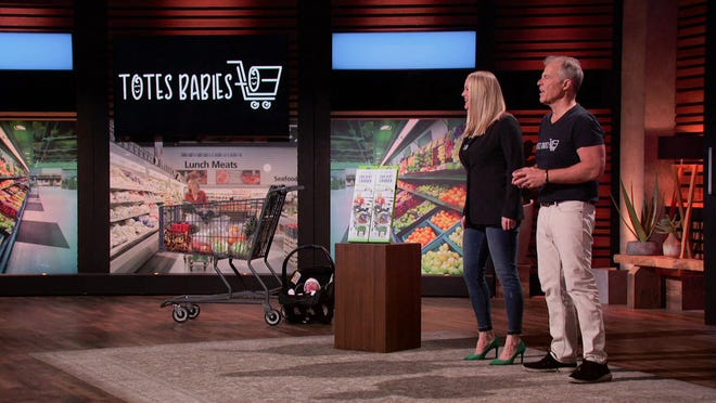 """Lindsey Fleischhauer of Naperville and Stanley Valiulis of Rockford are shown during an appearance on the ABC program """"Shark Tank"""" that aired on Friday, March 12, 2021, on WTVO."""