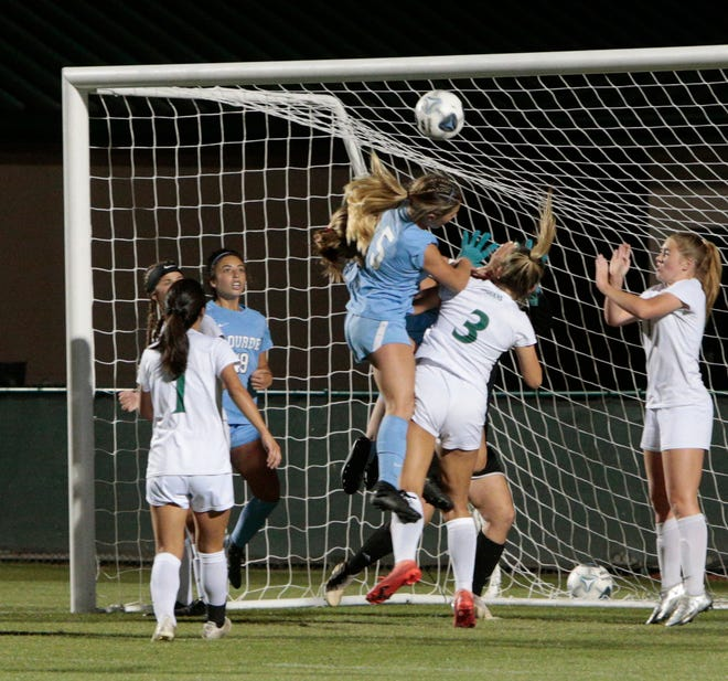 The Venice High defense and goalie Ashton Pennell were solid in front of the net the entire match against Miami Lourdes Academy in the Class 6A state girls soccer final Friday night at Spec Martin Stadium in DeLand. The Indians won on penalty kicks.