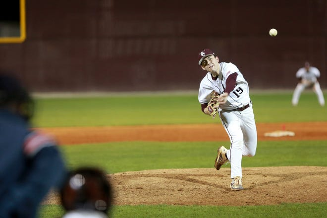 Benedictine senior pitcher Carter Holton works from the mound during a March 5 game against Camden County in Savannah.