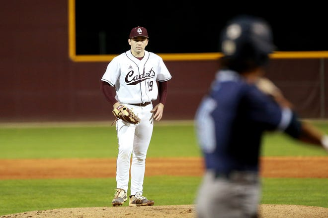 Benedictine pitcher Carter Holton gets set to pitch during a Friday, March 5, home game against Camden County. The senior left-hander pitched his second career perfect game, a 10-0, six-inning victory shortened by the 10-run rule.