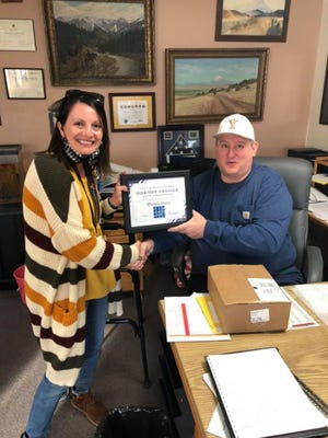 Rhonda Daws, Assistant Principal  and Director of Curriculum and Categorical Program at Yreka High School was recently named Siskiyou ACSA-Secondary Co-Administrator of the Year. With her is Yreka Union High School District superintendent. YHS Principal Mark Greenfield.