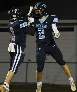 Hoggard's Conrad Newman (2) celebrates after his 49-yard touchdown reception last Friday against Ashley in a 49-6 victory for the Vikings.
