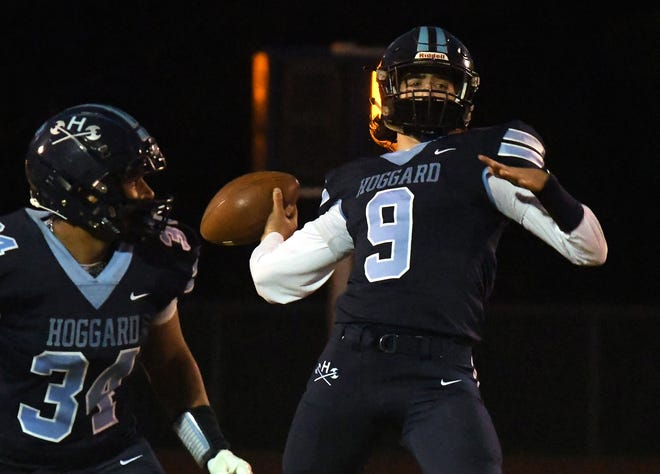 Hoggard's Gabe Johnson launches a pass to Conrad Newman for a touchdown during the Vikings' win Friday night against Ashley.