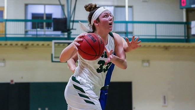 Senior Shannon St. Lawrence turned in a double-double in Nichols' victory Saturday over Western New England in women's basketball.