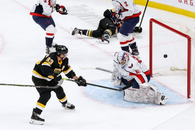 Bruins left wing Brad Marchand scores against the Capitals during the first period Friday night at TD Garden.