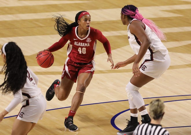 Mar 5, 2021; Greenville, SC, USA; Alabama Crimson Tide forward Jasmine Walker (40) moves to the basket against the South Carolina Gamecocks during the first quarter at Bon Secours Wellness Arena.