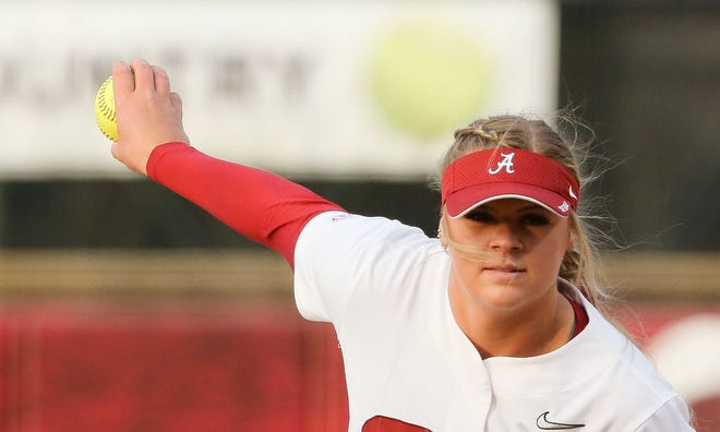 Alabama pitcher Lexi Kilfoyl delivers a pitch against Kent State in Rhoads Stadium Friday, March 5, 2021. [Staff Photo/Gary Cosby Jr.]