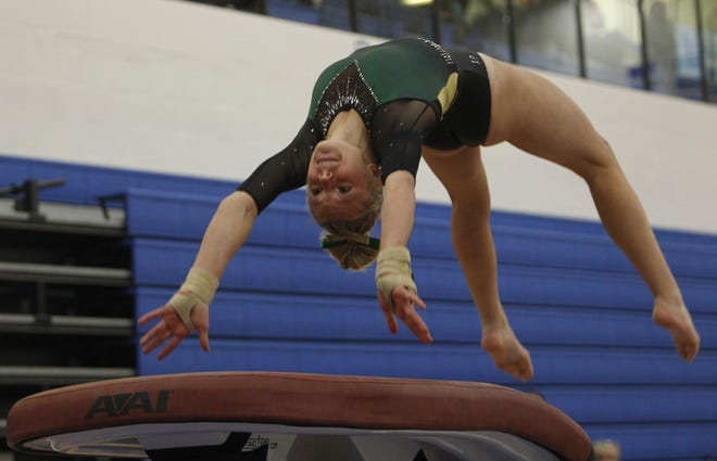 Dublin Jerome's Raegan Ernst competes on the vault during the state team meet March 5 at Hilliard Bradley. The Celtics finished ninth.