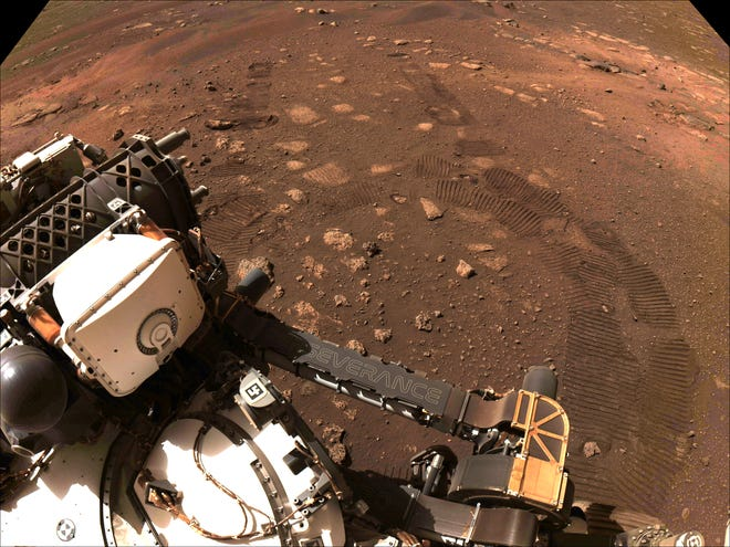 This image was taken during the first drive of NASA's Perseverance rover on Mars on March 4, 2021.
