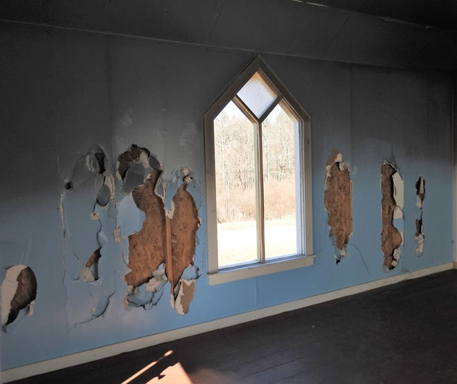 New drywall will be installed this spring then the walls will be painted inside the Royer Chapel on Township Road 280. Work is projected to be done by June.