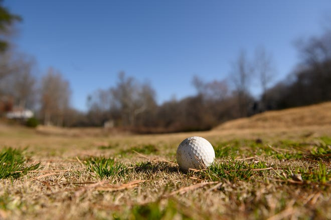 A golf ball sits on a section of the Pebble Creek golf course that is currently closed and may be used for the development of more homes Friday, March 5, 2021.