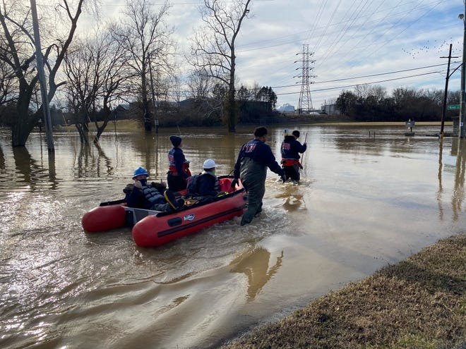 Louisville Fire helps Louisville Water transport employees to the Pumping Station at Zorn Avenue and River Road. March 3, 2021
