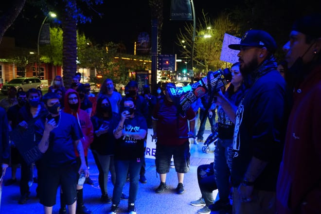 About 100 people gathered for a protest Friday evening, March 5, 2021, at Chandler City Hall to seek justice for 17-year-old Anthony Cano who was shot and killed by a Chandler police officer in January.