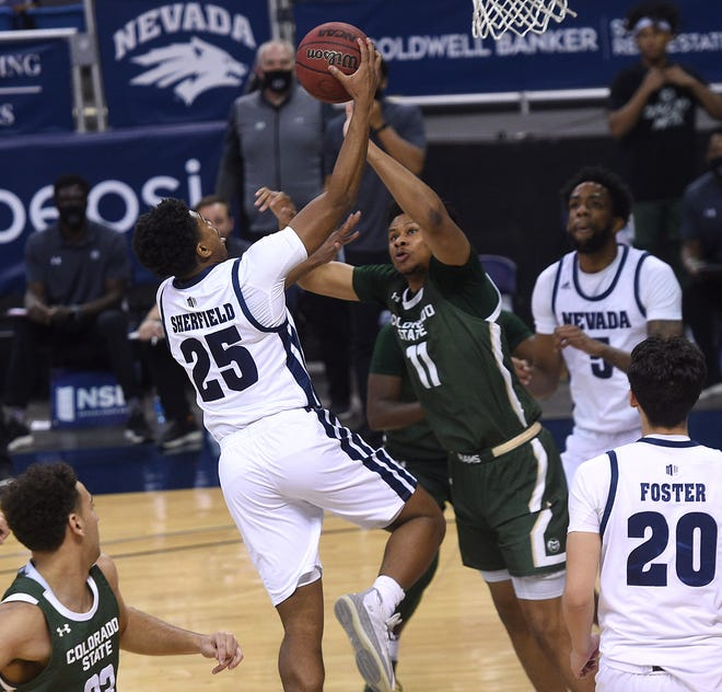 Nevada's Gary Sherfield shoots while taking on Colorado State at Lawlor Events Center in Reno on March 5, 2021.