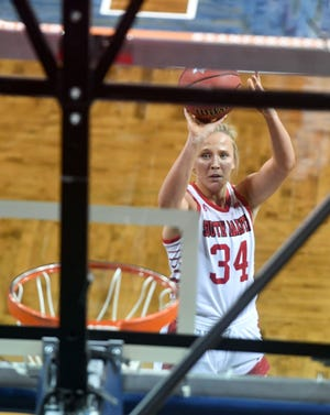 South Dakota's Hannah Sjerven shoots a free throw in the first round of the Summit League Tournament on Saturday, March 6, 2021, at the Sanford Pentagon in Sioux Falls.