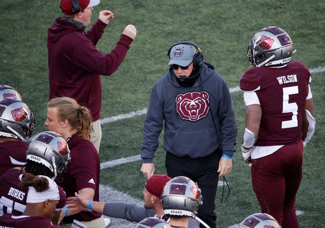 The Missouri State Bears head coach Bobby Petrino leads the team during their 25-0 loss to the North Dakota State Bison at Plaster Stadium on Saturday, March 6, 2021.