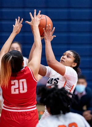 College of the Sequoias' Alana Roberts shoots against Bakersfield College in women's basketball on Friday, March 5, 2021.