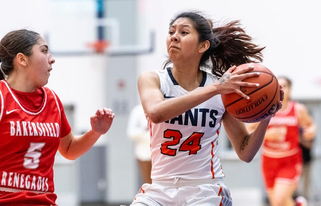 College of the Sequoias' Celeste Lewis, right, plays against Bakersfield College in women's basketball on Friday, March 5, 2021.