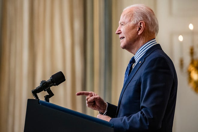 WASHINGTON, DC - MARCH 06: President Joe Biden speaks from the State Dining Room following the passage of the American Rescue Plan in the U.S. Senate at the White House on March 6, 2021 in Washington, DC. The Senate passed the bill 50-49 which will go back to the House for a final vote.