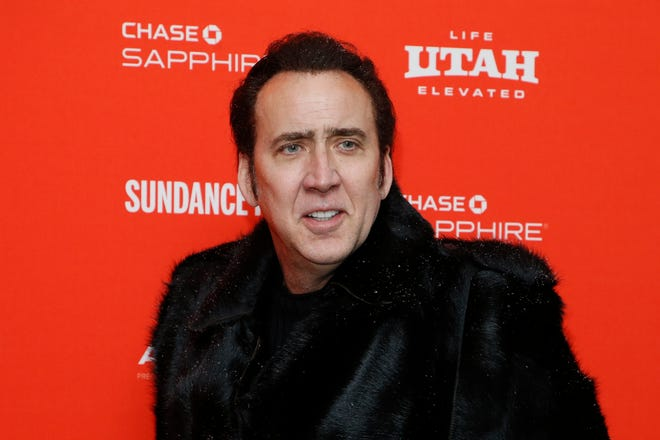 "Actor Nicolas Cage poses at the premiere of ""Mandy"" during the 2018 Sundance Film Festival on Friday, Jan. 19, 2018."