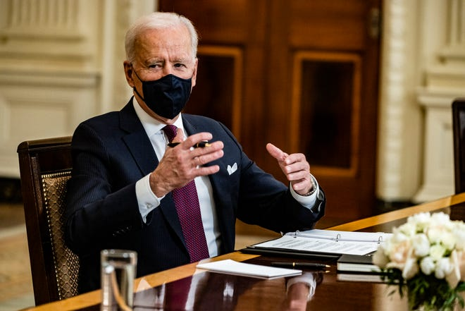 President Joe Biden speaks during a roundtable meeting with Americans who will benefit from the COVID-19 pandemic relief checks that are a part of the American Rescue Plan stimulus package working its way through Congress.