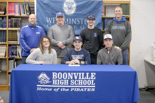 Boonville senior Hunter Pethan recently signed a baseball letter of intent with Westminster College in Fulton. Pethan is a three-year letterwinner in baseball for Boonville. On hand during the signing were (front row, left to right) Chas Pethan, Hunter Pethan and Matt Pethan. (back row, left to right) Boonville Athletic Director Chris Shikles, hitting coach Eric Rhorer, Boonville baseball coach Adam Arnette and  Boonville High School Principal Tim Edwards.