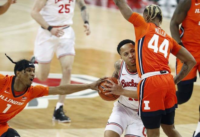 Ohio State and guard CJ Walker, here driving against Illinois on Saturday, have run into tough times with a regular-season ending four-game losing streak.