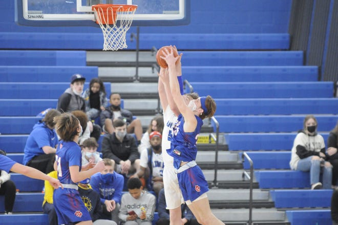 Lenawee Christian's Elliott Addelman and Adrian's Connor Davies go up for a rebound during Saturday's game.