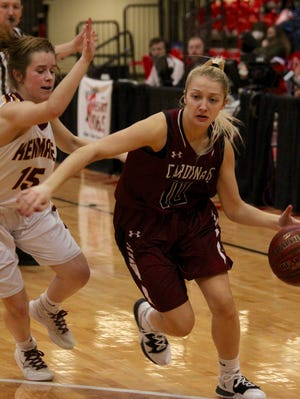 Langdon/Edmore/Munich defeated Kenmare, 53-40, for fifth place in the NDHSAA Class B girls basketball state tournament on March 6 at the Minot State Dome.