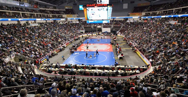 A general view of the Giant Center during the PIAA wrestling championships in Hershey on March 10, 2018.